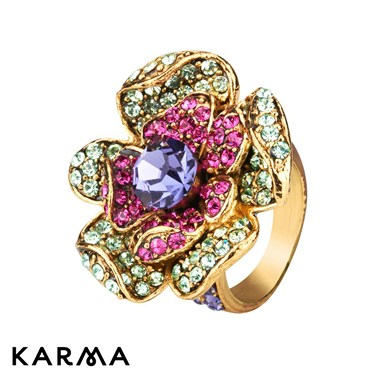 Karma Crystal Flower Ring