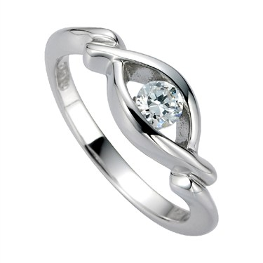 Argento Cubic Zirconia Knot Ring