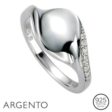 Argento Cubic Zirconia Twirl Ring