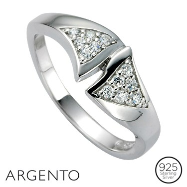 Argento Cubic Zirconia Triangle Ring