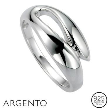 Argento Cubic Zirconia Overlap Ring