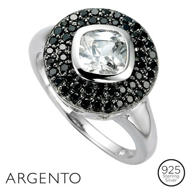 Argento Black Cubic Zirconia Circle Ring