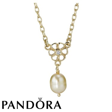 Pandora Daisy Heart Pearl Necklace