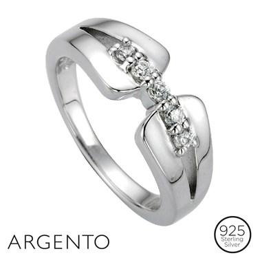 Argento Cubic Zirocnia Link Ring