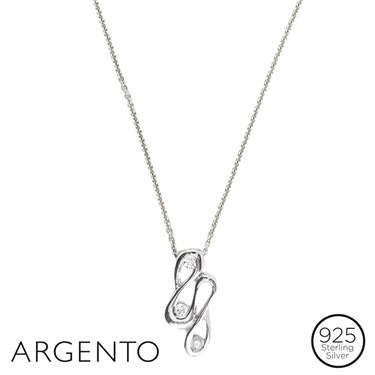 Argento Cubic Zirconia Ribbon Necklace
