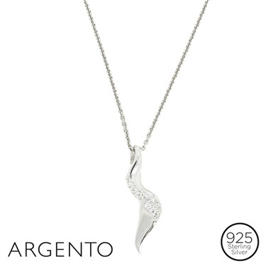 Argento Cubic Zirconia Twist Necklace