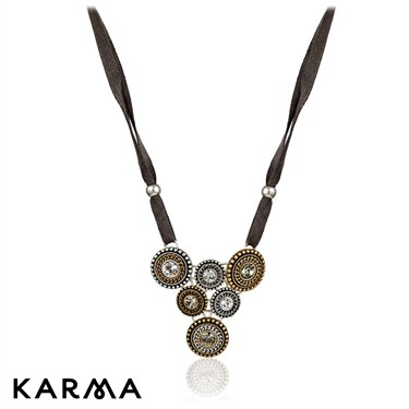 Karma Antique Bead Ribbon Necklace