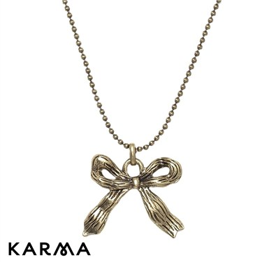 Karma Antique Gold Bow Necklace