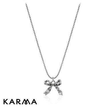 Karma Antique Silver Bow Necklace