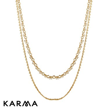 Karma Gold Effect Double Necklace