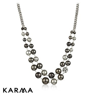 Karma Gunmetal Bead Necklace