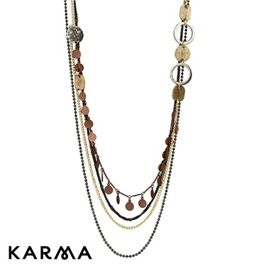 Karma Triple Chain and Disc Necklace
