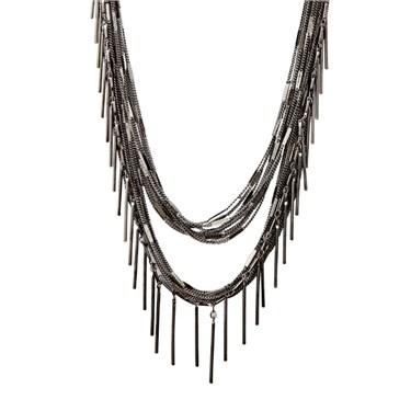Karma Gunmetal Multi Strand Necklace