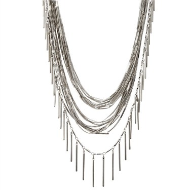 Karma Rhodium Multi Strand Necklace