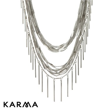 Karma Rhodium Long Layered Cluster Necklace