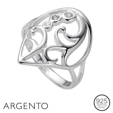 Argento Filigree Cubic Zirconia Ring
