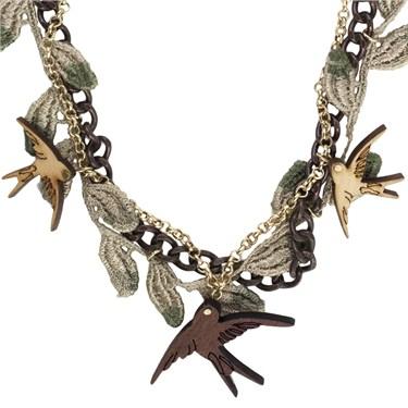 Karma Bird And Fabric Necklace