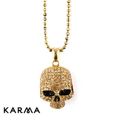 Karma Gold Skull Necklace