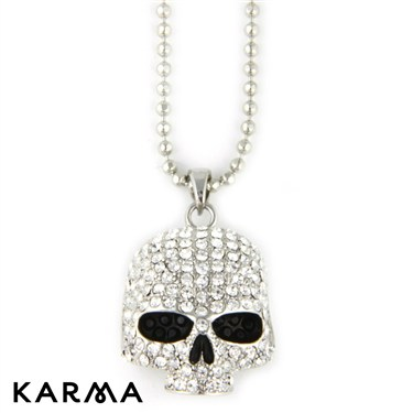 Karma Silver Skull Necklace