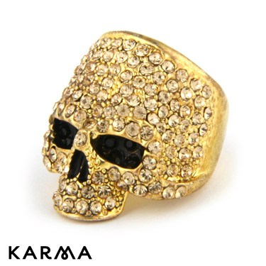 Karma Gold Skull Ring
