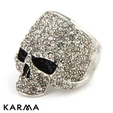 Karma Silver Skull Ring