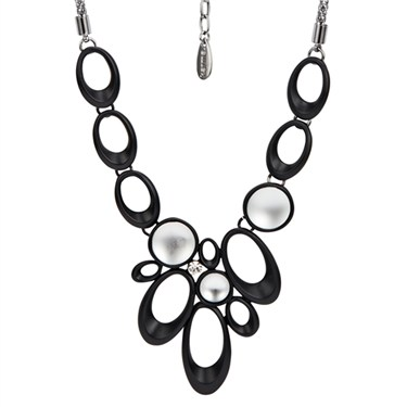 Karma Glass and Oval Disc Necklace