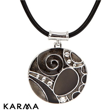 Karma Black Swirl Circle Drop Necklace