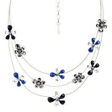 Karma Navy Layered Flower Necklace