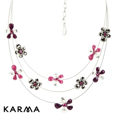 Karma Pink Layered Flower Necklace