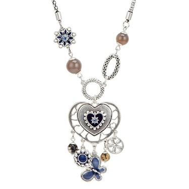 Karma Navy Heart Drop Necklace