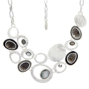 Karma Black Frosted Cluster Oval Necklace
