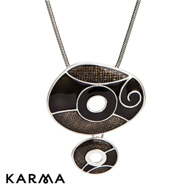 Karma Black drop Circles Necklace