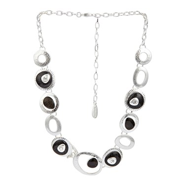 Karma Black Frosted Oval Necklace