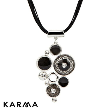 Karma Black Cluster Drop Necklace