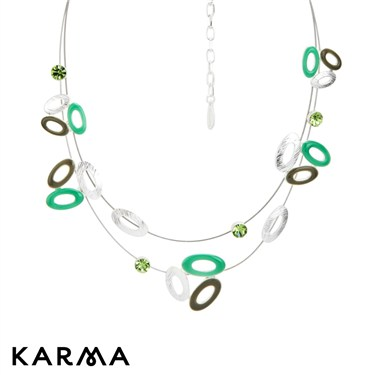 Karma Green Cluster Layer Oval Necklace