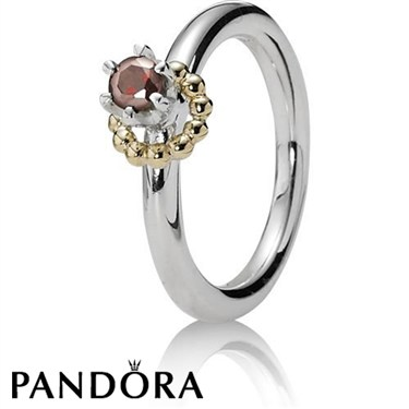 Pandora Garnet Gold Wreath Ring