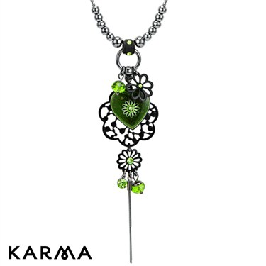 Karma Green Heart and Flower Drop Necklace