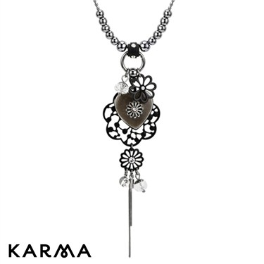 Karma White Heart and Flower Drop Necklace