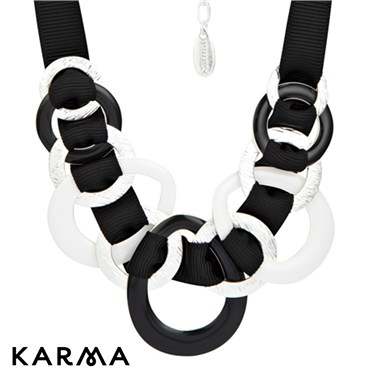 Karma Black and White Entwined Ribbon Necklace
