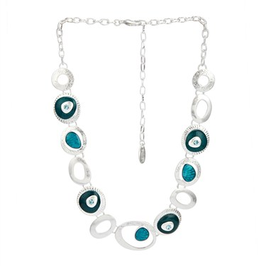 Karma Teal Frosted Oval Necklace