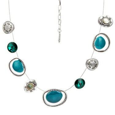 Karma Teal Ethnic Strand Necklace