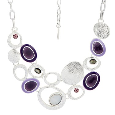 Karma Purple Frosted Cluster Oval Necklace