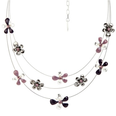 Karma Purple Layered Flower Necklace
