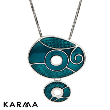 Karma Teal Drop Circles Necklace