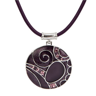 Karma Purple Swirl Circle Drop Necklace