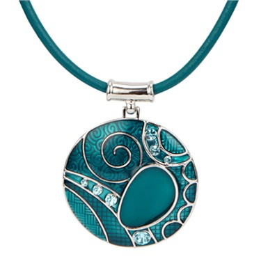 Karma Teal Swirl Circle Drop Necklace