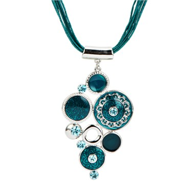 Karma Teal Cluster Circle Drop Necklace