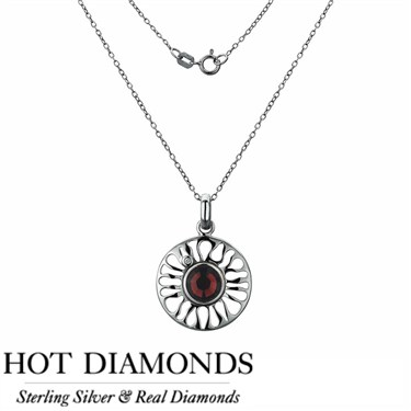 Hot Diamonds Sundial Garnet Necklace