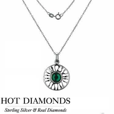 Hot Diamonds Sundial Emerald Necklace