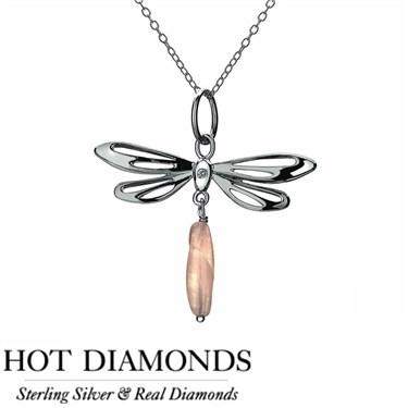 Hot Diamonds Dragonfly Rose Quartz Necklace